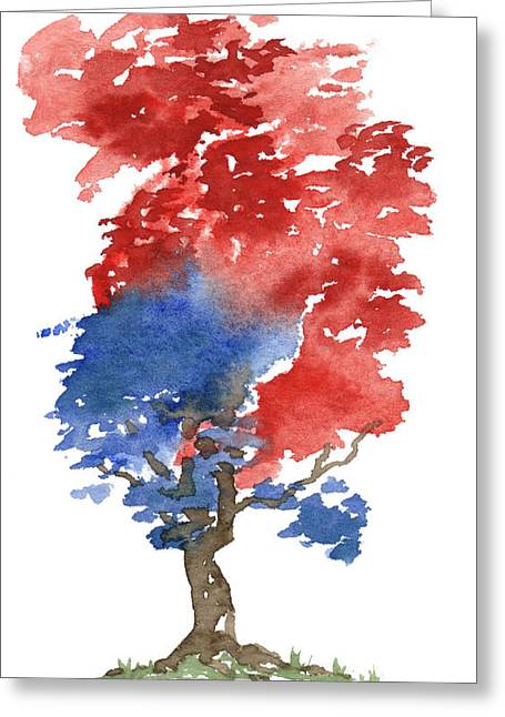 Independence Day Paintings Greeting Cards - Little Zen Tree 292 Greeting Card by Sean Seal