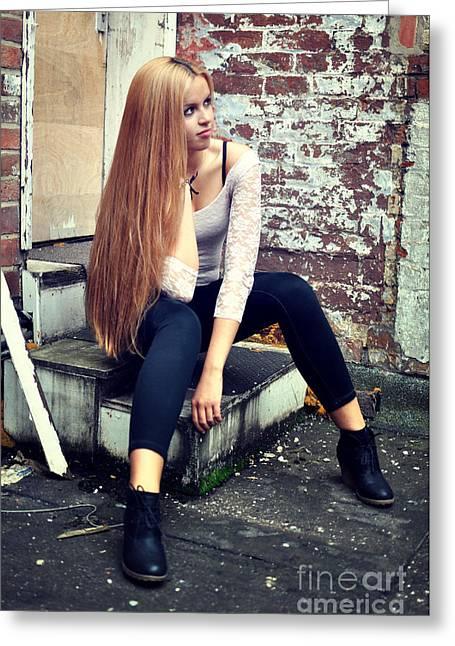 Straight Hair Greeting Cards - Liuda1 Greeting Card by Yhun Suarez