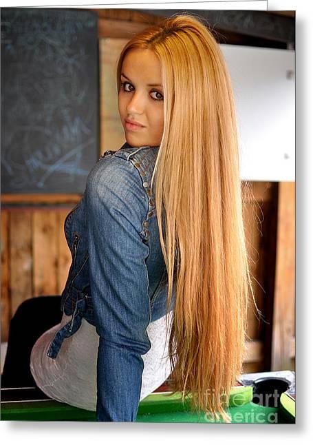 Straight Hair Greeting Cards - Liuda13 Greeting Card by Yhun Suarez