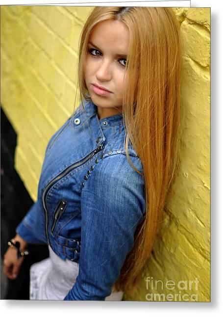 Straight Hair Greeting Cards - Liuda16 Greeting Card by Yhun Suarez
