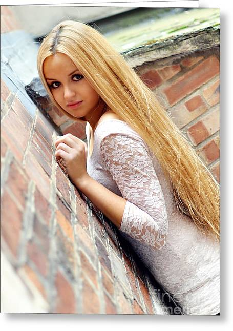 Young Lady Greeting Cards - Liuda3 Greeting Card by Yhun Suarez