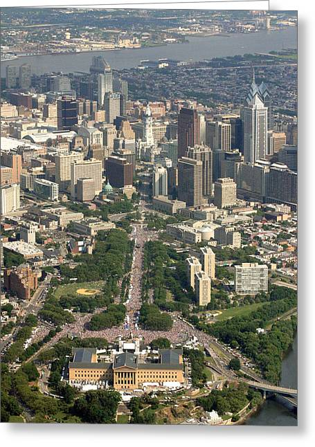 Live Art Photographs Greeting Cards - Live 8 Concert Philadelphia Ben Franklin Parkway 2 Greeting Card by Duncan Pearson