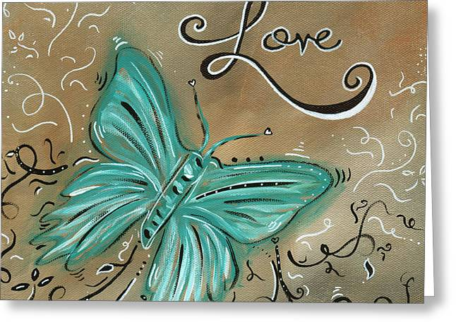 Licensor Greeting Cards - Live and Love Butterfly by MADART Greeting Card by Megan Duncanson