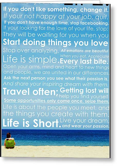 Motivational Poster Photographs Greeting Cards - Live Life Greeting Card by Brad Scott
