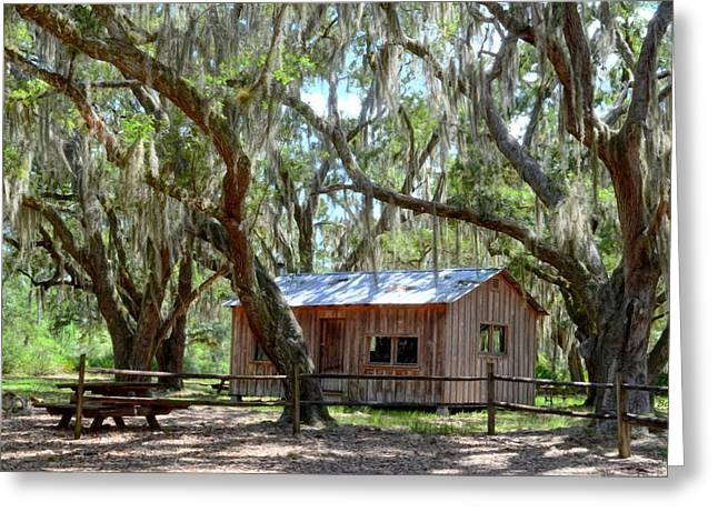 Hunting Cabin Digital Art Greeting Cards - Live Oak Cabin Greeting Card by Bob Jackson