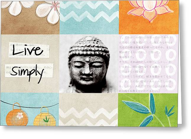 Tiled Mixed Media Greeting Cards - Live Simply Greeting Card by Linda Woods
