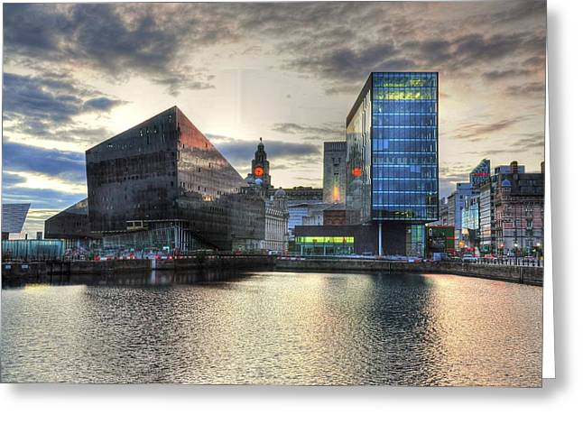 Liverpool After Dark Greeting Card by Barry R Jones Jr