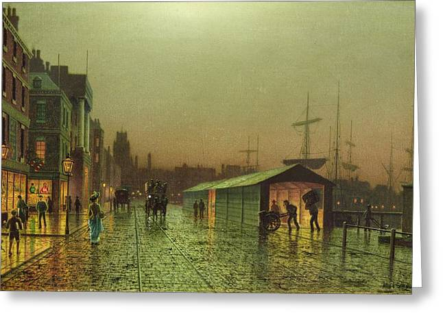 Liverpool Greeting Cards - Liverpool Docks Greeting Card by John Atkinson Grimshaw