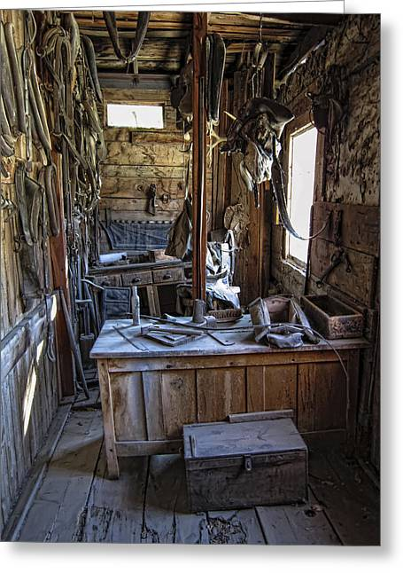 Horse And Buggy Greeting Cards - Livery Stable Work Area - Virginia City Ghost Town - Montana Greeting Card by Daniel Hagerman