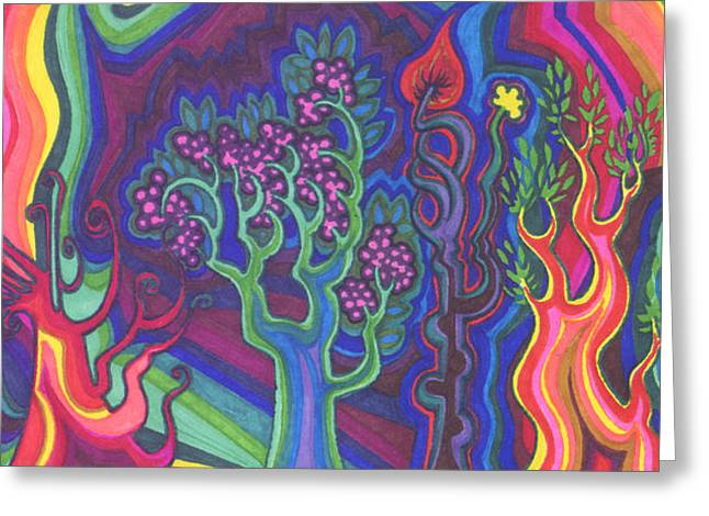 Gaia Drawings Greeting Cards - Living Forest Greeting Card by James Davidson