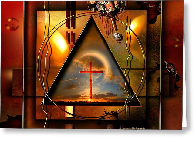 Rectangles Digital Art Greeting Cards - Living Hope Greeting Card by Franziskus Pfleghart
