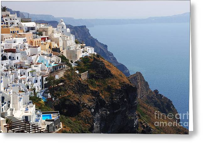On The Edge Greeting Cards - Living On The Edge In Santorini Greeting Card by Bob Christopher