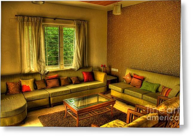 Cushion Greeting Cards - Living Room Greeting Card by Charuhas Images