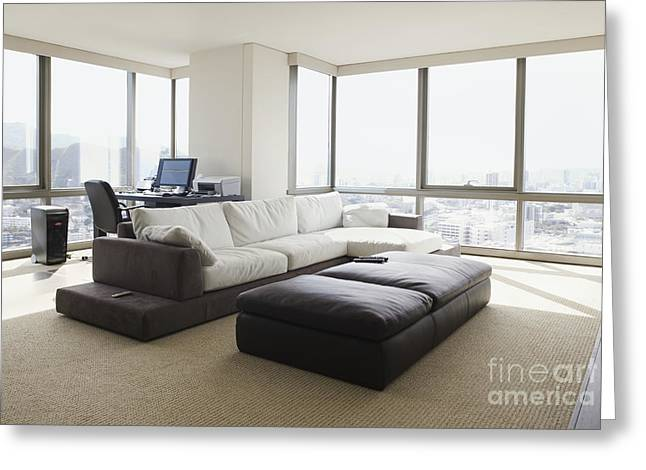 Home Office Furniture Greeting Cards - Living Room With a City View Greeting Card by Inti St. Clair