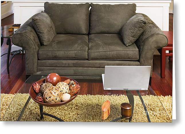 Coffee Table Couch Greeting Cards - Living Room with Shag Rug Greeting Card by Andersen Ross