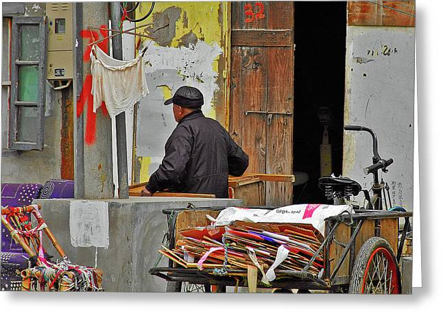 Street Scene Greeting Cards - Living the old Shanghai life Greeting Card by Christine Till