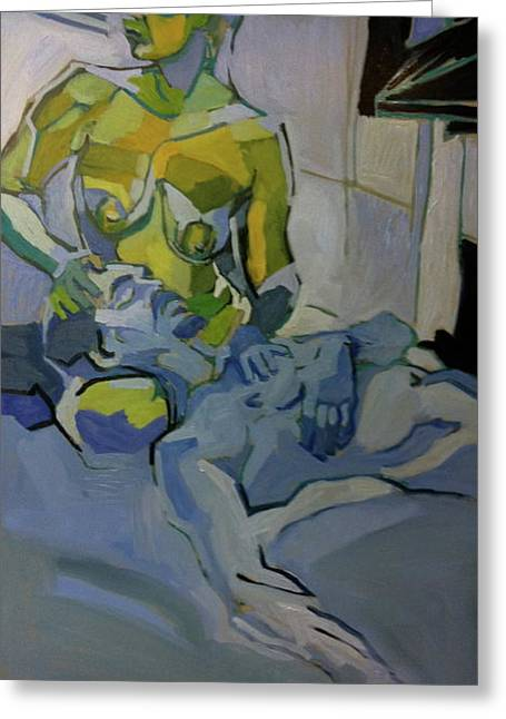 Clothed Figure Drawings Greeting Cards - Liz n Brian Pieta Greeting Card by Piotr Antonow