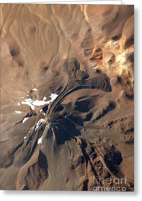 Aerial Photograph Greeting Cards - Llullaillaco Volcano, Argentina-chile Greeting Card by NASA/Science Source