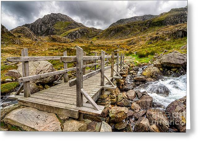 Hdr Landscape Greeting Cards - Llyn Idwal Bridge Greeting Card by Adrian Evans