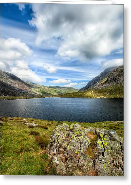 Hdr Landscape Digital Greeting Cards - Llyn Idwal Lake Greeting Card by Adrian Evans