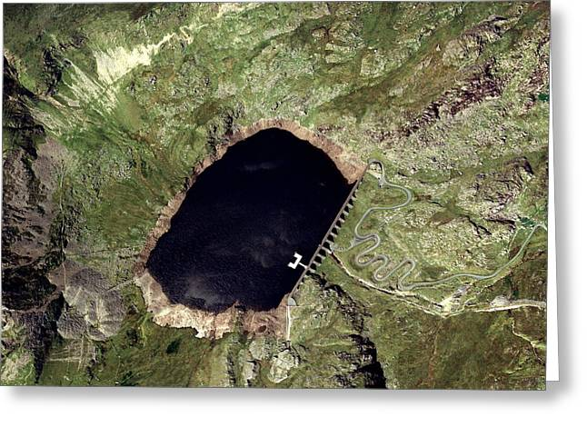 Non-polluting Greeting Cards - Llyn Stwlan Reservoir, Uk, Aerial Image Greeting Card by Getmapping Plc