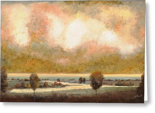 lo stagno sotto al cielo Greeting Card by Guido Borelli