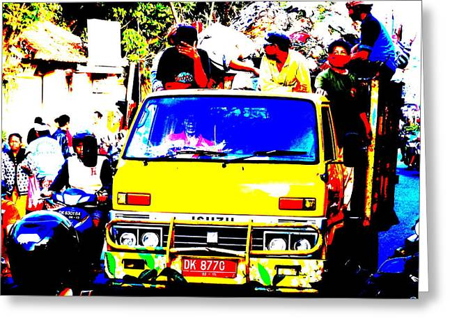 Graffitis Greeting Cards - Loaded Bus in Ubud Greeting Card by Funkpix Photo Hunter