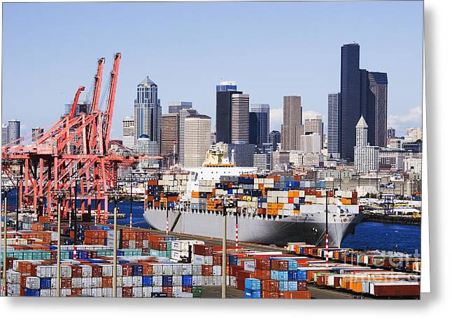 Architectural Details Greeting Cards - Loaded Container Ship In Seattle Harbor Greeting Card by Jeremy Woodhouse