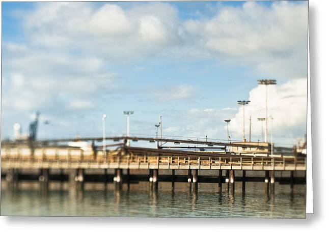 Wooden Ship Greeting Cards - Loading Dock at a Seaport Greeting Card by Eddy Joaquim