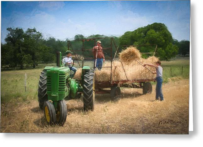 At Work Digital Art Greeting Cards - Loading the wheat    3204 Greeting Card by Fritz Ozuna
