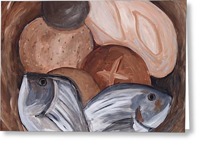 Loaves and Fishes Greeting Card by Chelle Fazal