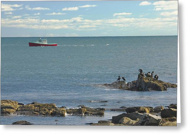 Maine Beach Greeting Cards - Lobster Boat Working off Rocky Seawall Beach Acadi National Park Photo Greeting Card by Keith Webber Jr