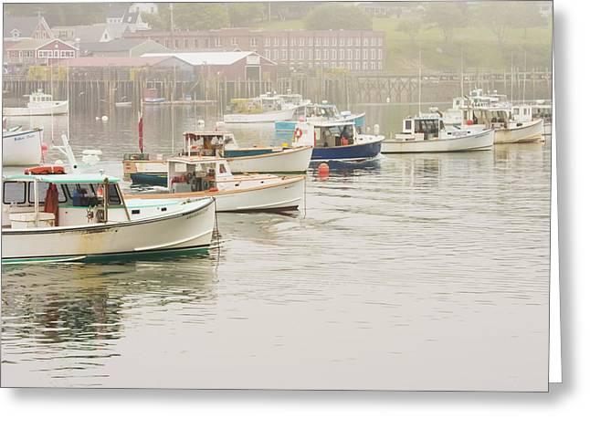 Maine Islands Greeting Cards - Lobster Boats Mount Desert Island Maine  Greeting Card by Keith Webber Jr