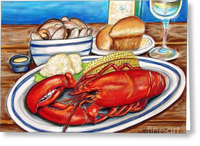 New England. Pastels Greeting Cards - Lobster Dinner Greeting Card by Patricia L Davidson