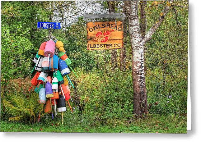 Lobster Sign Greeting Cards - Lobster Lane Greeting Card by Lori Deiter