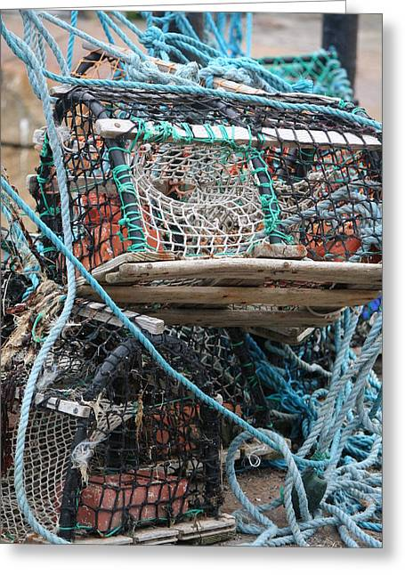 Lobster Pot Greeting Cards - Lobster Pot Greeting Card by Carol Ann Thomas