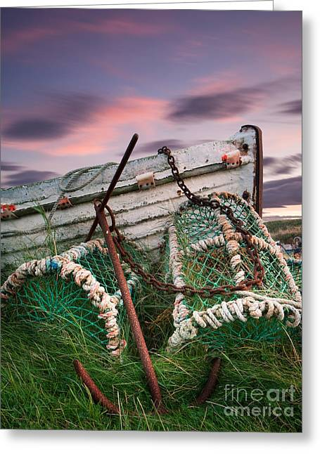 Lobster Pot Greeting Cards - Lobster Pots and Anchor at Lidisfarne Holy Island Greeting Card by John Potter