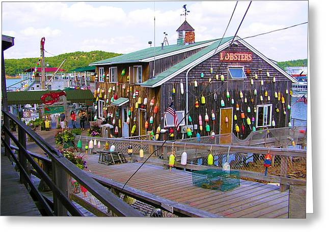 Lobster Shack Greeting Cards - Lobster Shack Bar Harbor Maine Greeting Card by Sven Migot