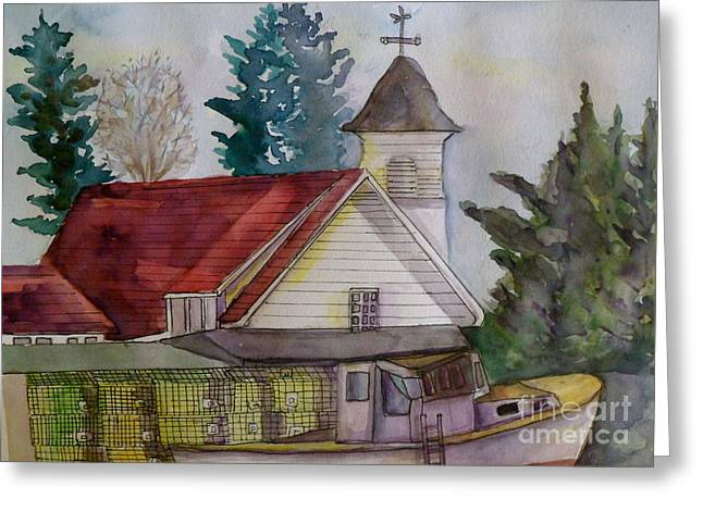 Maine Spring Paintings Greeting Cards - Lobster Trap at the ready Greeting Card by Anne McMath