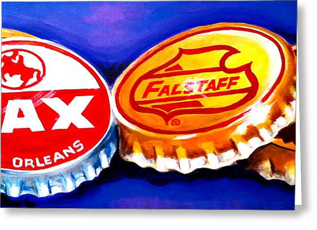 Bottle Cap Paintings Greeting Cards - Local Beer Caps Greeting Card by Terry J Marks Sr