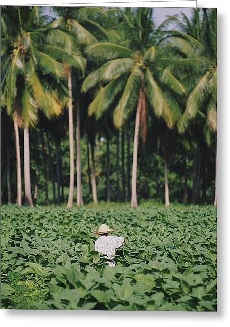 Locals Only Greeting Cards - Local Man Spraying Tobacco Crop Greeting Card by Axiom Photographic