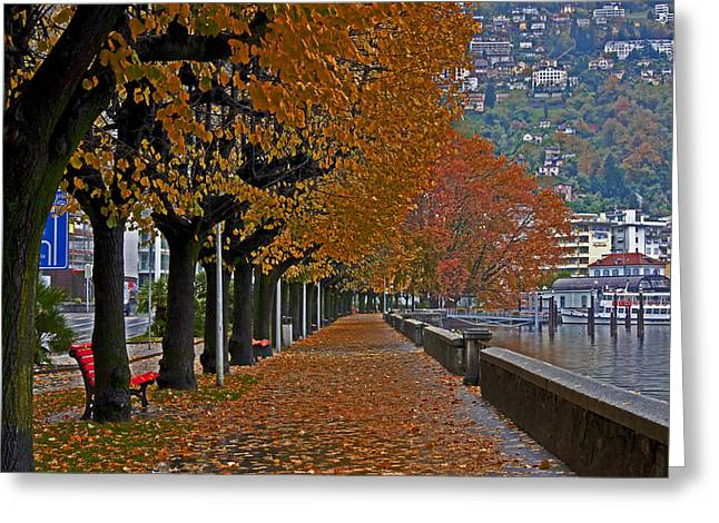 Tessin Greeting Cards - Locarno in autumn Greeting Card by Joana Kruse