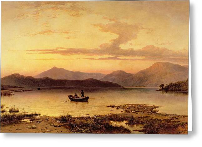 Dinghy Greeting Cards - Loch Etive from Bonawe in the Evening Greeting Card by George Edwards Hering
