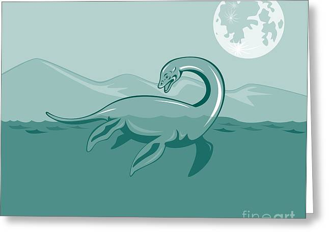 Lake Greeting Cards - Loch Ness Monster Retro Greeting Card by Aloysius Patrimonio