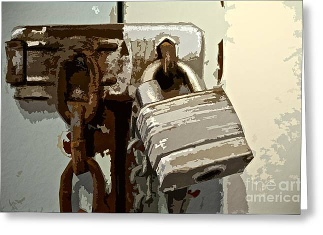 Hardware Greeting Cards - Lock and Chain Greeting Card by Gwyn Newcombe