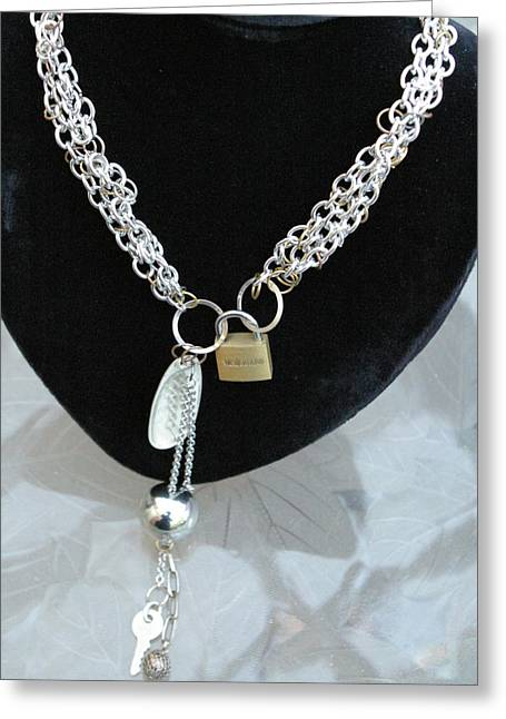 Chain Jewelry Greeting Cards - Lock and Key Necklace Greeting Card by Susan Geluz