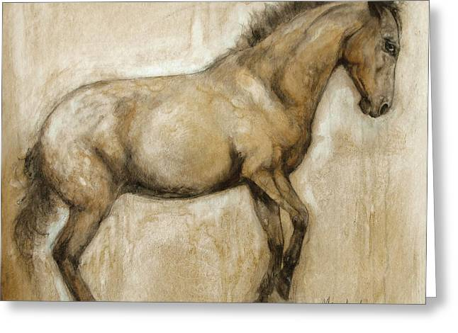 Horses Paintings Greeting Cards - Lock and Load Greeting Card by Mary Leslie