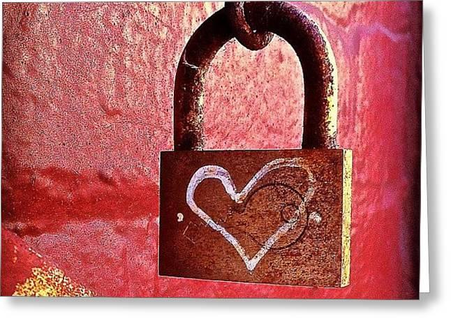 Greeting Cards - Lock/heart Greeting Card by Julie Gebhardt