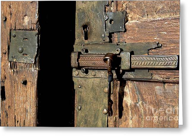French Door Greeting Cards - Lock of church. France Greeting Card by Bernard Jaubert