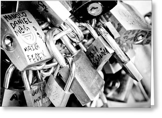 Padlock Greeting Cards - LOCK WISHES padlocks on the Saint Angelo Bridge Ponte Sant Angelo Rome Italy Greeting Card by Andy Smy